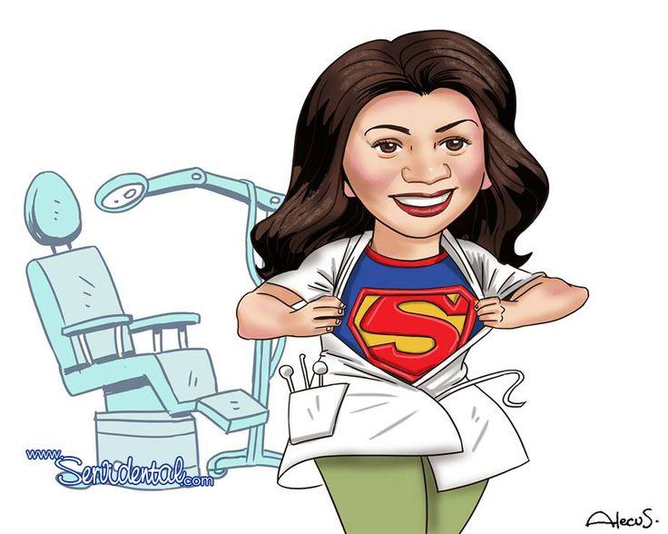 El genial Alecus caricaturiza a nuestra regente Dra. Raquel Menjívar una Super dentista! Feliz día del odontólogo!
