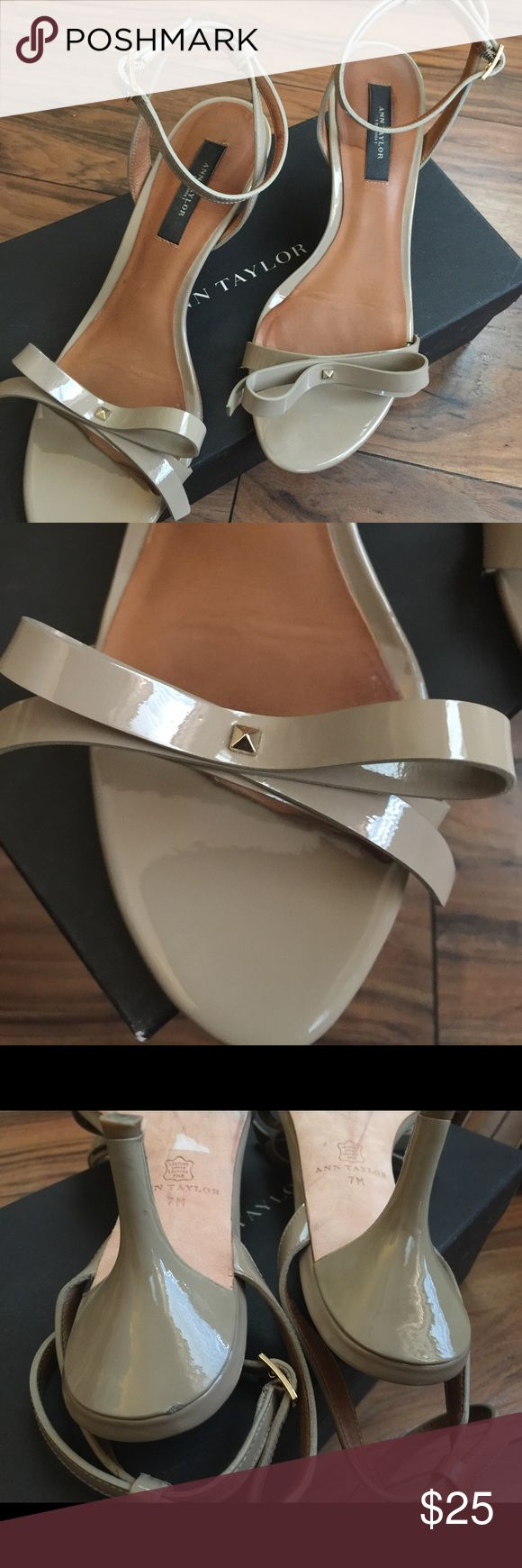 Ann Taylor Iris Bow Kitten Sandals These Ann Taylor Iris Bow Kitten Sandals are so classic and classy!  Cool khaki  color.  Ankle strap.   Comes with box Ann Taylor Shoes