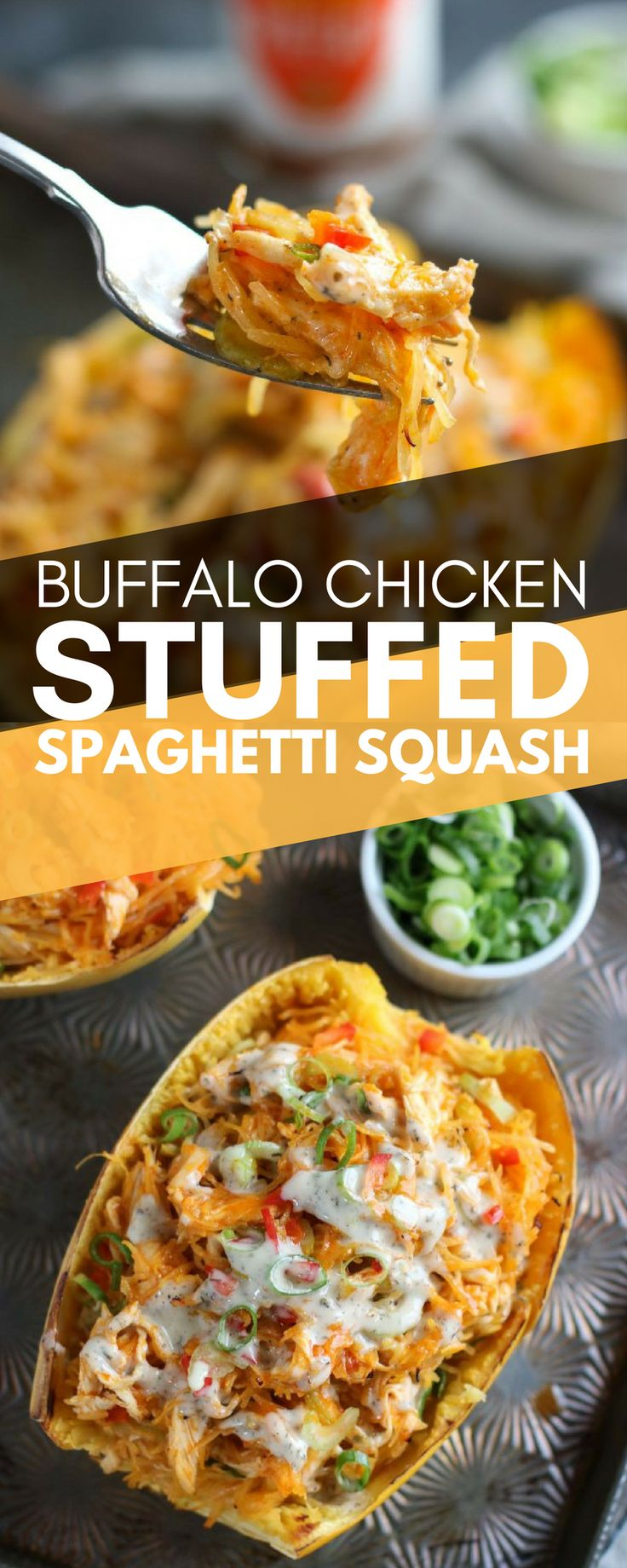 Everyone loves some tasty buffalo chicken, right? What if we told you we had a recipe that was not only tasty, but healthy too? Well, you're in luck! Try this paleo, whole30, grain-free, dairy-free, SUPER delicious recipe for buffalo chicken stuffed spaghetti squash! It takes just 15 minutes to prep and is a delicious entree that everyone will enjoy.