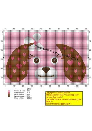 Bébé - baby - chienne - point de croix - cross stitch - Blog : http://broderiemimie44.canalblog.com/