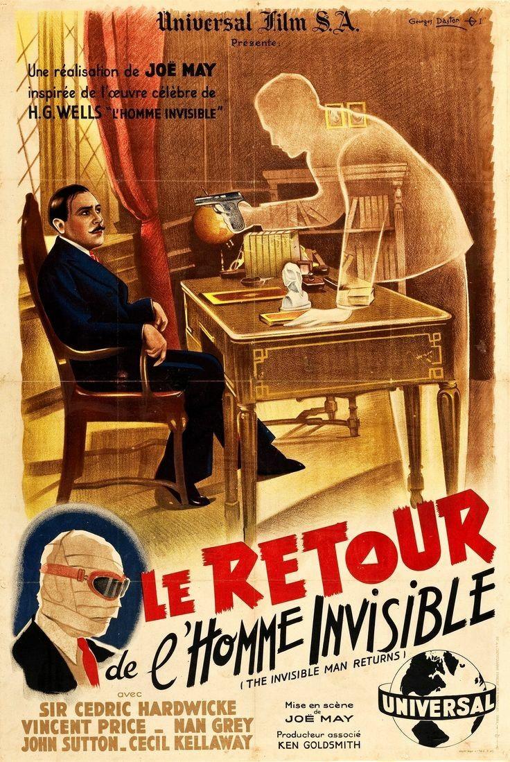 Le Retour De L'homme Invisible : retour, l'homme, invisible, Martin, Zimmerman, Movie, Posters, Invisible, French, Poster,, Vintage
