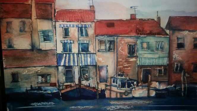 Watercolour - buildings, boats and water by Cavell Steenkamp