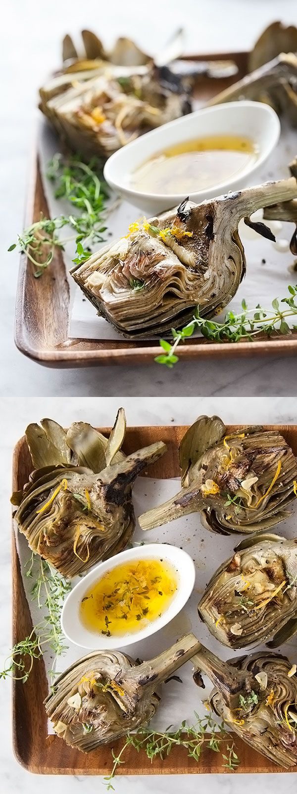 Grilled Artichokes with a super flavorful Garlic Butter. I could make it a meal in itself!   foodiecrush.com