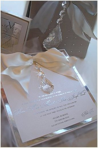 """Versailles"" Wedding Invitation - Hanging crystal layered on silver mirror. xo Embellishments Invitations"
