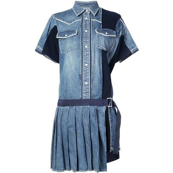 Sacai Pleated Denim Shirt Dress ($1,020) ❤ liked on Polyvore featuring dresses, clothing /, kirna zabete, blue denim dress, blue shirt dress, long sleeve dress, denim shirt dress and t-shirt dresses