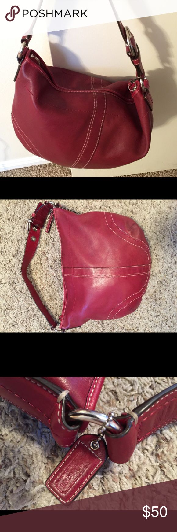 Coach hand bag red leather hobo Coach hand bag red leather hobo Coach Bags Hobos