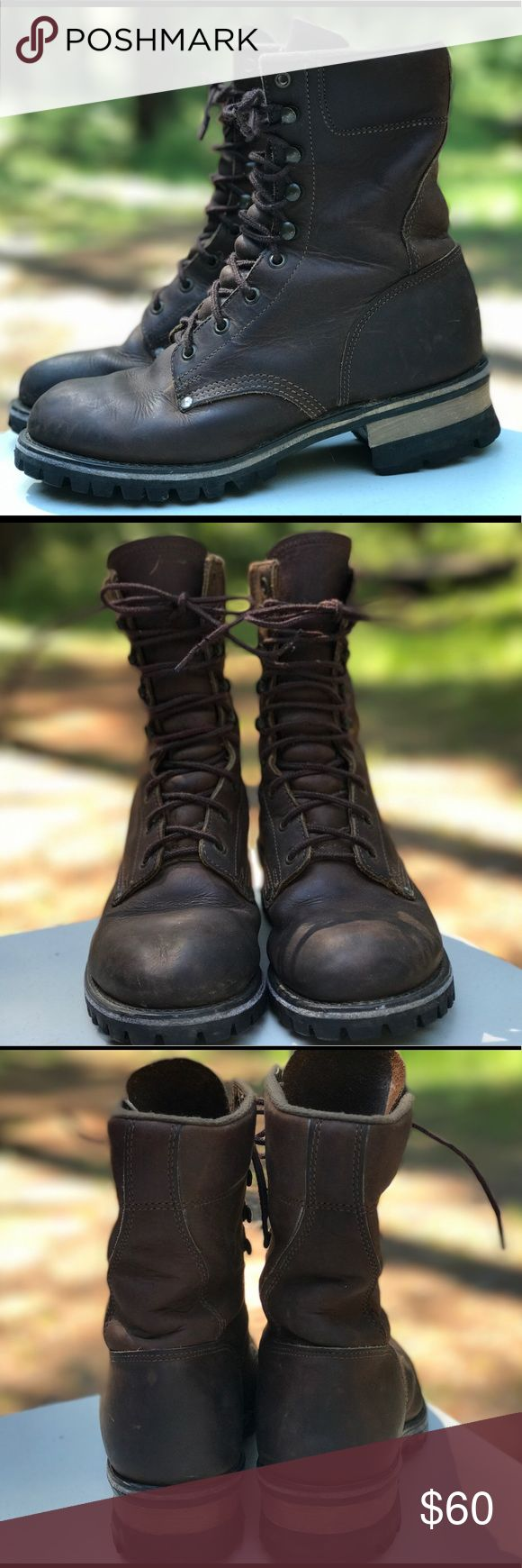 """L.L.Bean or Chippewa logger combat lace up boot 39 Classic 8 inch leather logger work boots w/ Vibram soles. Possibly Chippewa or LL Bean Katahdin Iron Works, labels & markings faded, the only part I can read is """"leather"""" & """"made in USA"""". I really love these boots and hate to part with them but they are just too big for me, I would say they are a size 39 = men's 6.5 or women's 8-8.5 (I wear 38) They are in good used condition & show some wear; see photos (minor spots & scratches, patina…"""