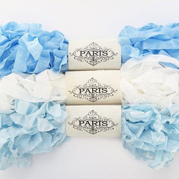Seam Binding Ribbon Blue White Rayon Shabby Crinkled