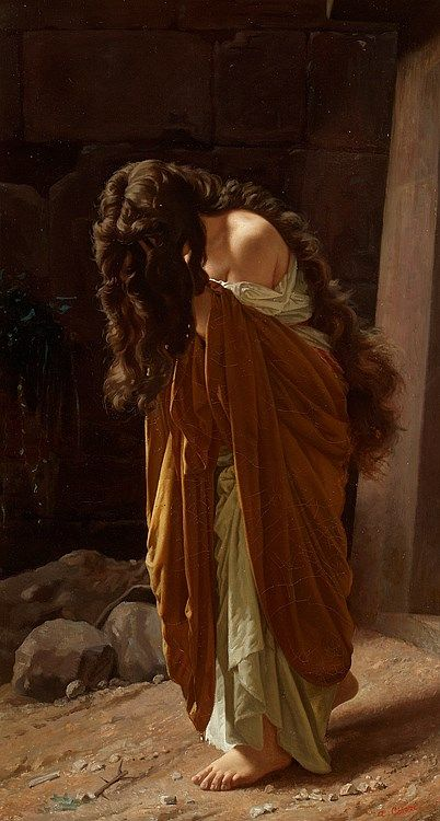 "Antonio Ciseri, ""Penitent Magdalena"".  That hair is stunning--and I like that it hangs down so long and heavy, covering her face, weighing her down.  I think the work is actually more expressive this way.  It also signifies shame--she wants to hide her face, and her sins, as much as she can, with her hands and bowed head but also with those thick, dark ropes."