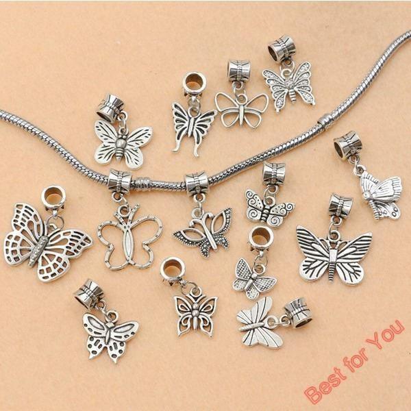 14pcs Tibetan Silver Tone Butterfly Beads European Charms Pendant Bracelet Jewelry DIY Jewelry Findings Handmde H001 - cubic zirconia jewelry