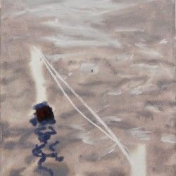 David Collins, Mooring Line, 2017, Gouache & Pastel on paper, 42X29cm Sold