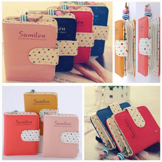 100pcs/lot Fashion Candy Colors Purse Polka Dots Leather Zipper Wallet Multiple Cards Holder Wallet For Girls Women Wallet