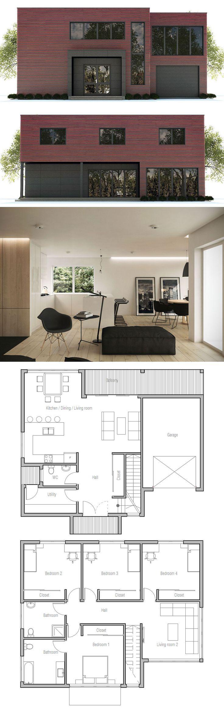 Une #maison #originale et #contemporaine  http://www.m-habitat.fr/plans-types-de-maisons/plans-de-maisons/le-plan-de-construction-d-une-maison-2483_A