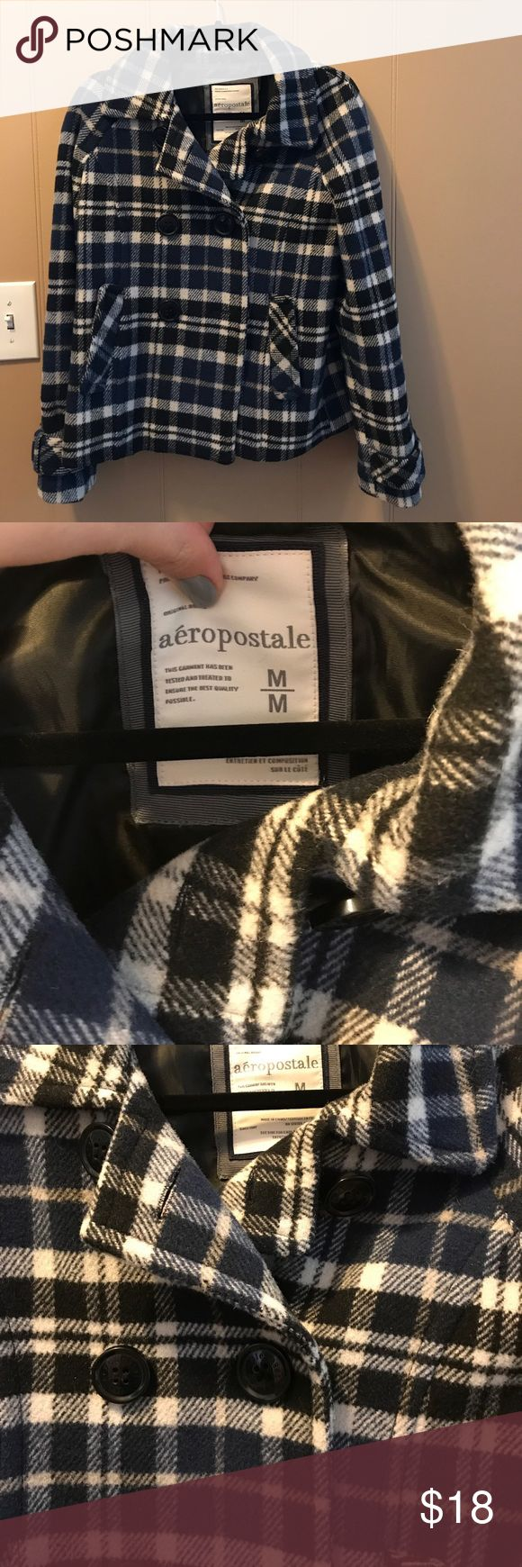 Classy blue Plaid perfect for fall peacoat Aeropostale blue and white plaid peacoat. Some black accents.  One button has come loose but nothing a quick couple stitches can't fix(see last pic) price reflects this.  Size medium. Aeropostale Jackets & Coats Pea Coats