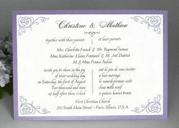 Affordable Bilingual Wedding Invitations