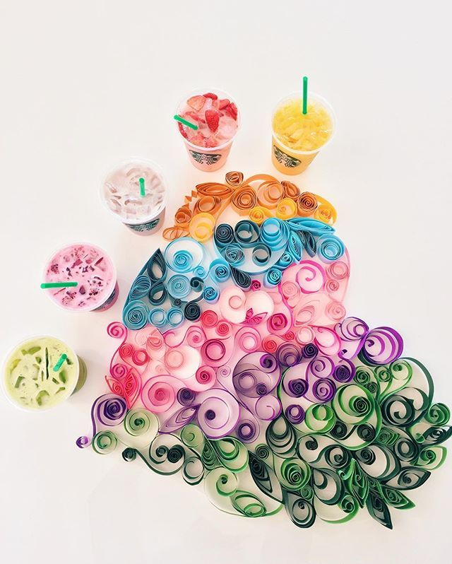 Your creations = our inspiration. #RainbowDrinks #PaperQuilling 💗💛💚💙💜