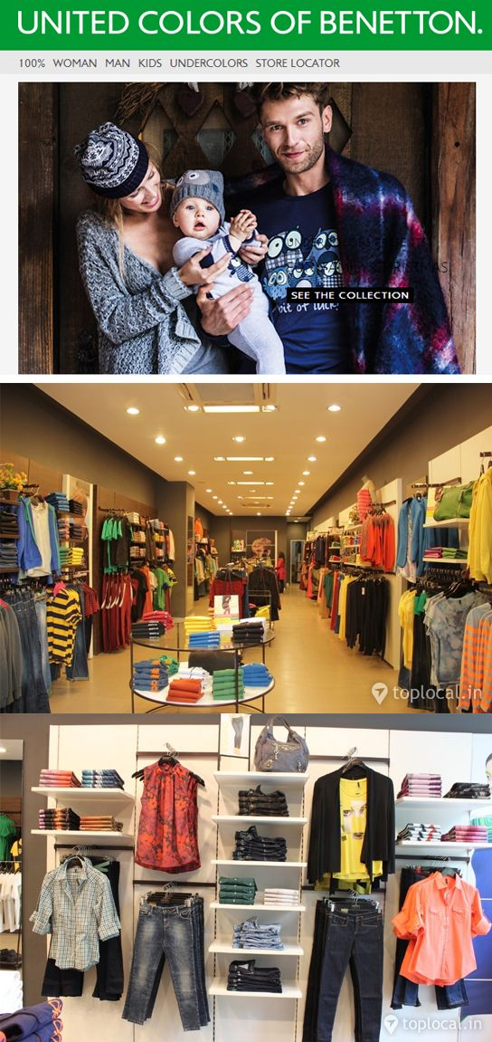 United Colors Of Benetton: Benetton Group is one of the best-known fashion companies in the world, present in 120 countries with a network of over 6,500 stores.  Look inside the store http://www.toplocal.in/ahmedabad/united-colors-of-benetton/local-store/522/