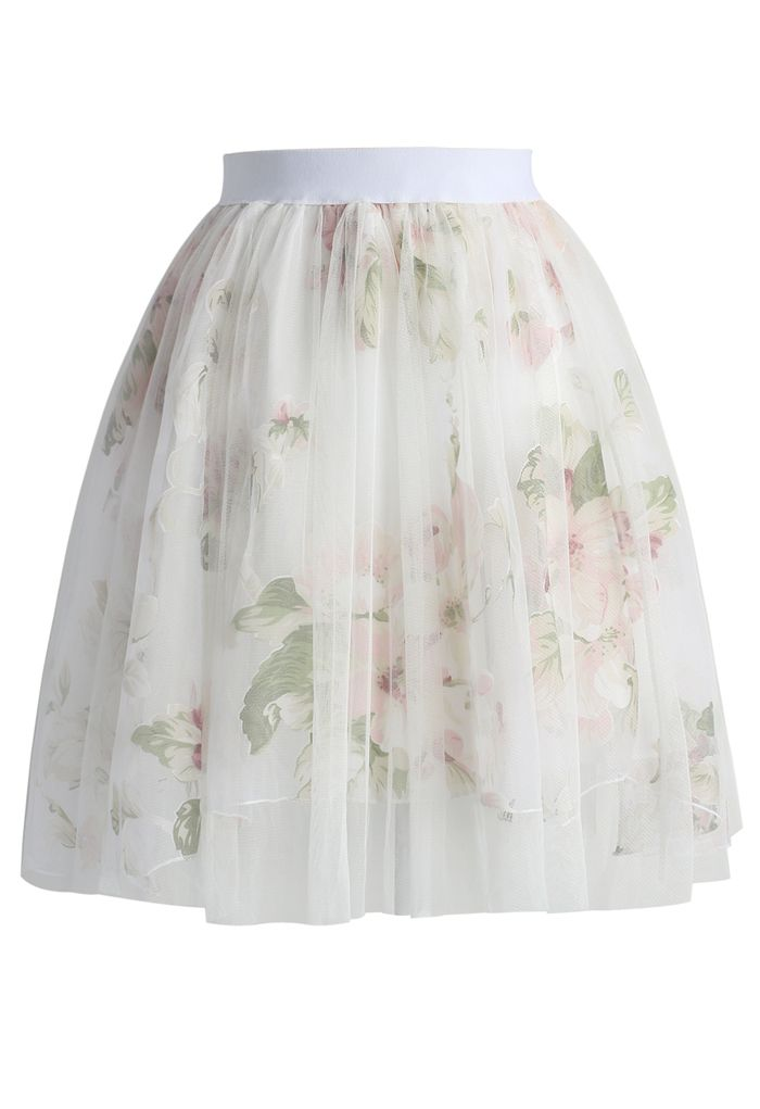 Balmy Floral Mesh Tulle Skirt - New Arrivals - Retro, Indie and Unique Fashion