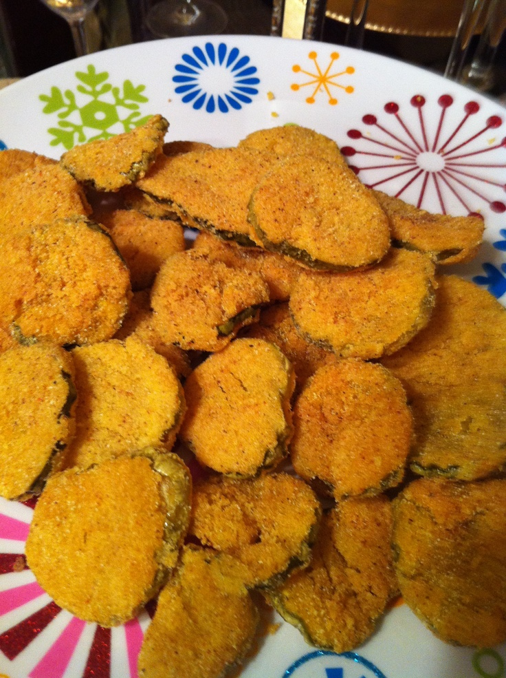 Fried Pickles...  Sliced dill pickles dipped in Fish Fry