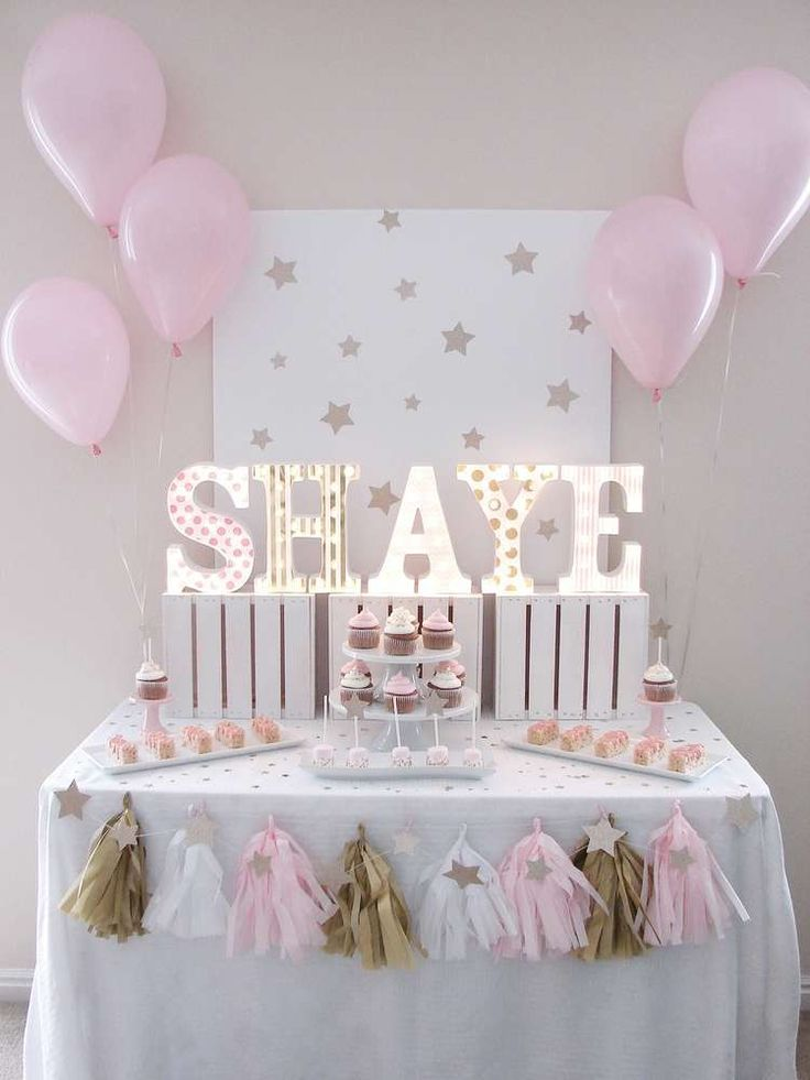 Gorgeous pink and gold star birthday party! See more party ideas at CatchMyParty.com!