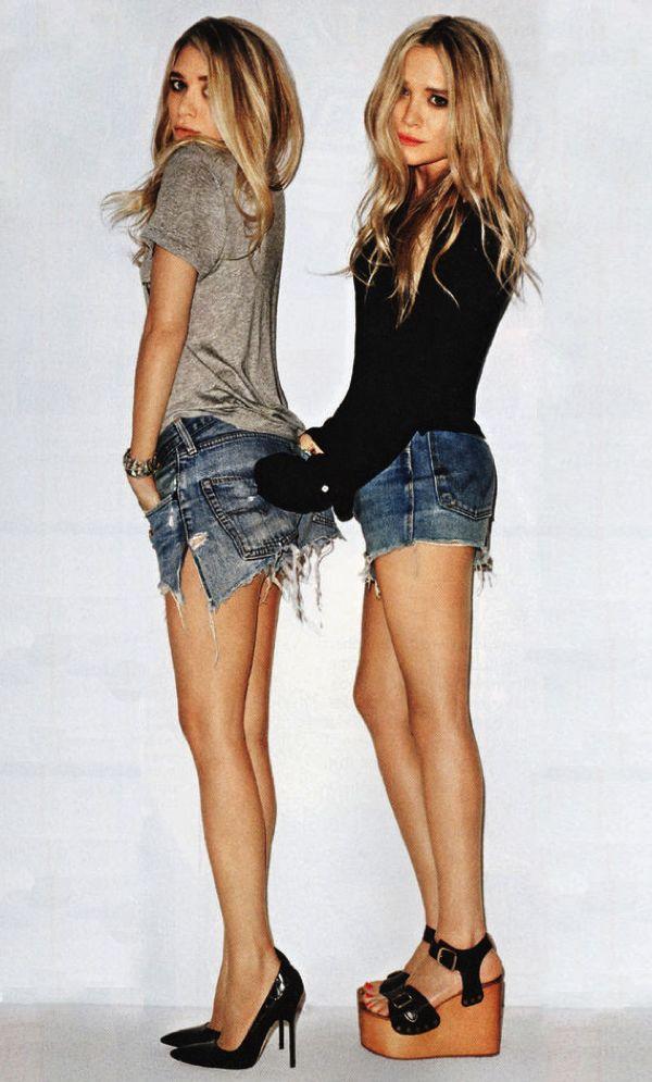 11 Ways To Wear Denim Shorts | Mary Kate And Ashley Olsen #style #fashion #shorts #summerstyle #olsentwins