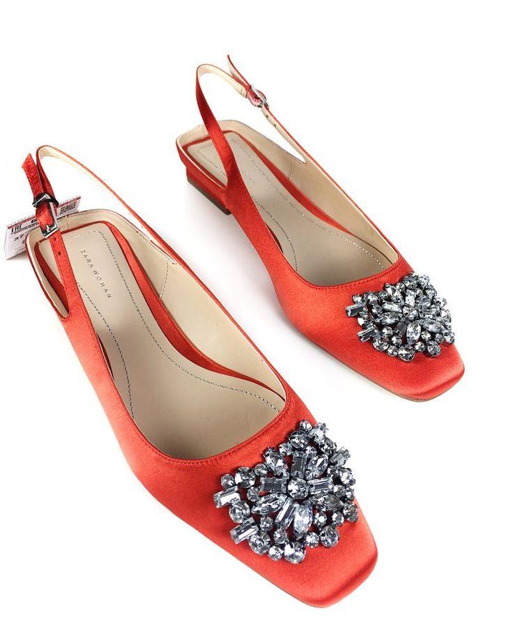 Zara Flat slingback shoes with beaded detail