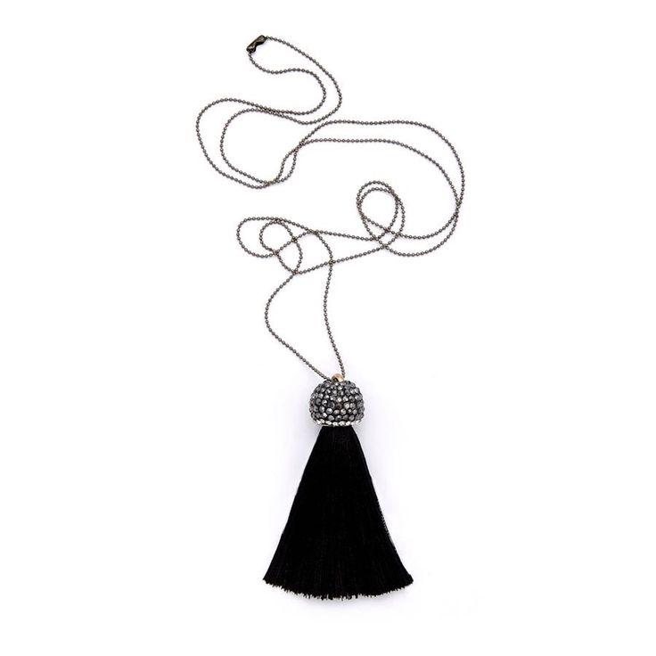 Black Fringe Sparkle Pendant