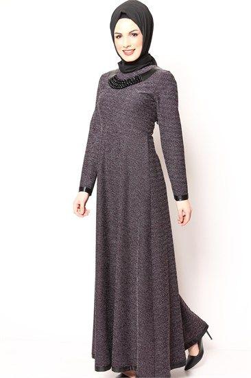 Tesettür Elbise Kolyeli Karyağdı Mor 2505