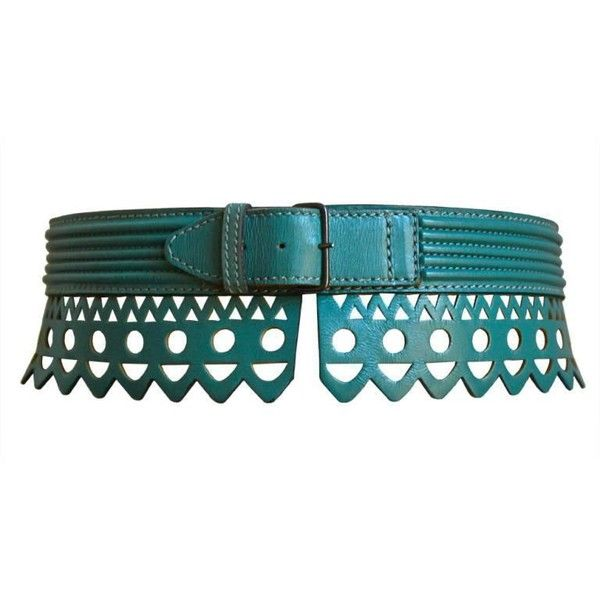 Preowned 1990's Azzedine Alaia Teal Scalloped Laser Cut Leather Belt ($450) ❤ liked on Polyvore featuring accessories, belts, green, alaia belt, leather belt, alaïa, green leather belt and teal belt
