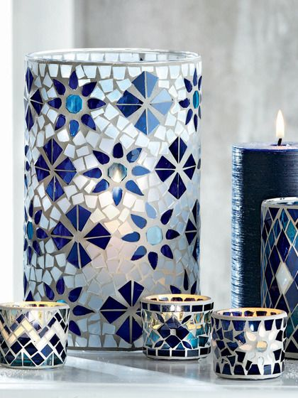 Mosaic Hurricane Candleholders- Blue and white wedding
