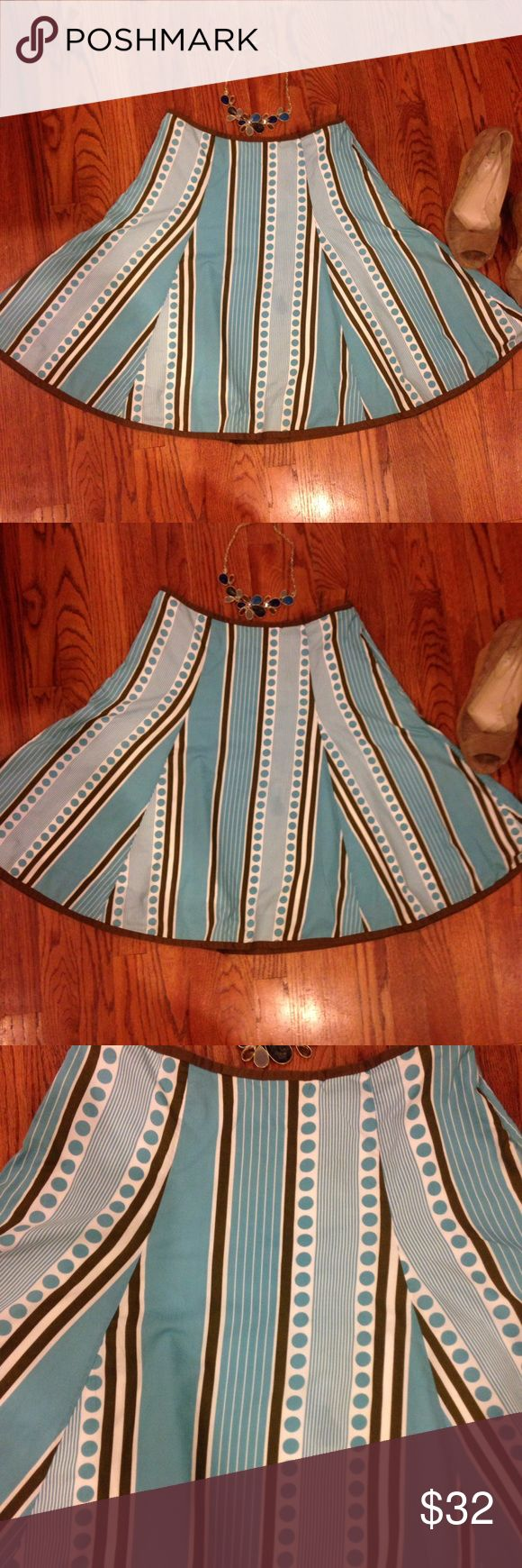 Boden summer skirt sz 8 teal & brown print Boden summer skirt!! Fun! Size 12 UK / 8 US. Cute print in teal and brown on a white background. Side zip. Lined in soft cotton. A-line with flirty hem. Add to a bundle! Excellent condition. Boden Skirts Midi