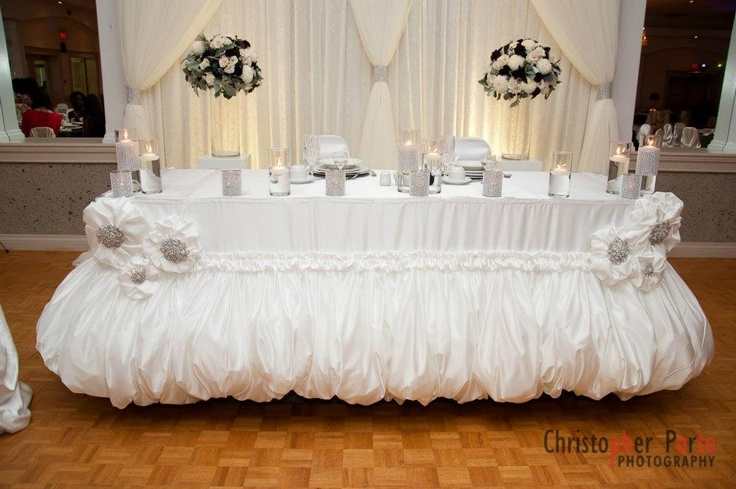beautiful white wedding head table www.WeddingGirl.ca