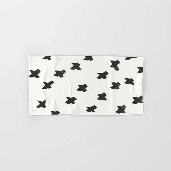 X Marks the Spot 1 Black and Cream Hand & Bath Towel by Rocky.rivers    Society6