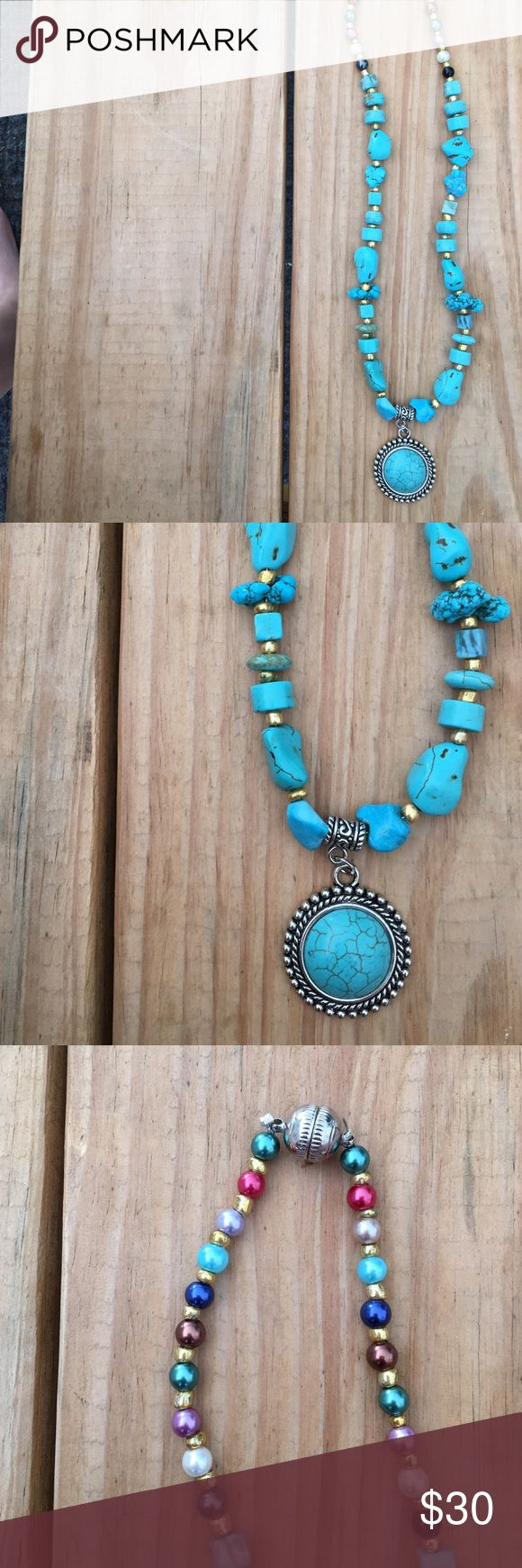 •Handmade• Turquoise Necklace✨ •handmade  •unique  •magnetic closure for easy take on/off  •all jewelry prices firm unless stated otherwise. •Offers to do not apply to jewelry.  •please ask any questions you may have thetrendykittenjewelry Jewelry