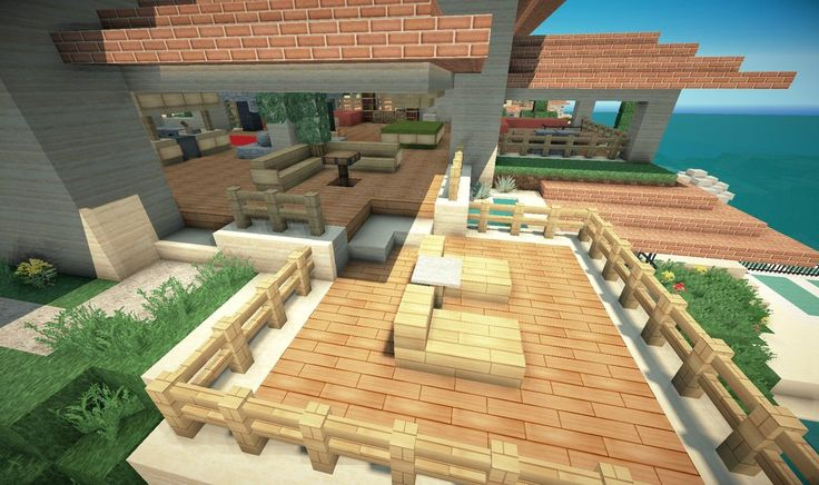Minecraft beach house deck