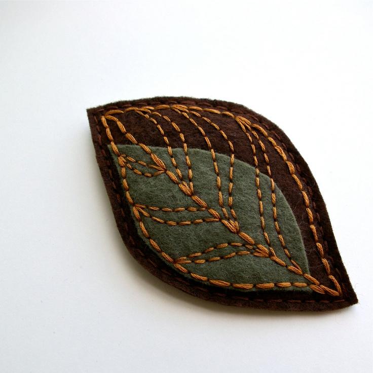 Wool Felt Brooch - create as an ornament. paint on paper & stitch