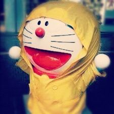 Doraemon in the rain