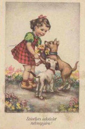 Kislány kutyákkal
