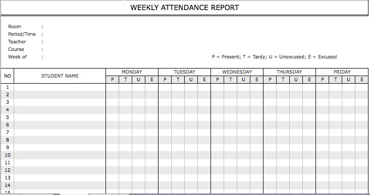 weekly attendance report template
