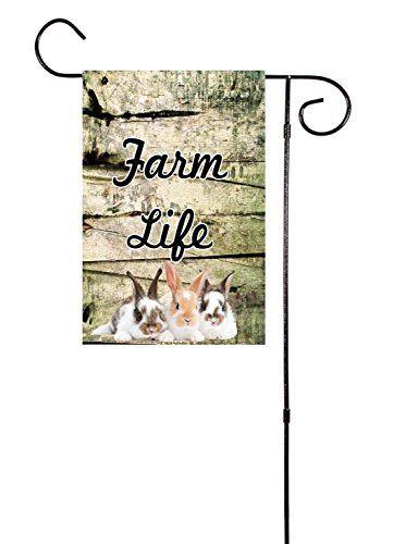 """Farm Life"" with Rabbits Garden Flag 12""x18"" Unique Textile Printing http://www.amazon.com/dp/B015OU02PI/ref=cm_sw_r_pi_dp_sKwcwb192Y1WP"