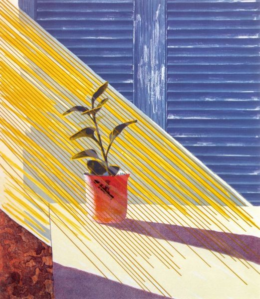 David Hockney, Sun I enjoy his more sketchy marks in this piece, and how he conveyed the light coming through the window. The shadows and the slats in the shutter/door behind the table and plant are nice, and the marks used to achieve this is effective.