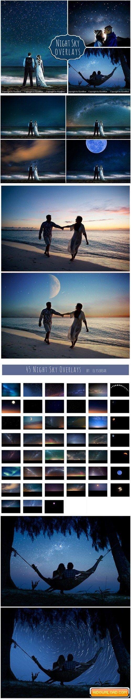 45 Night Sky Photoshop Overlays Free Download