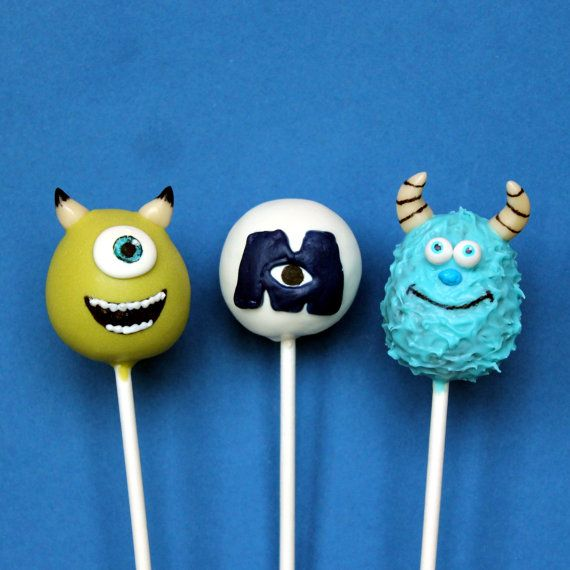 12 Cake Pops inspired by Disney's Monsters University - Mike & Sulley for birthday, party favors, cake toppers, movie night