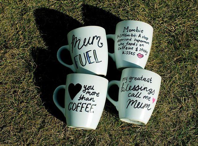 Handmade Coffee Mugs - #mothers day #coffee mug #sharpie #mumfuel #mombie #coffee #mom #diy