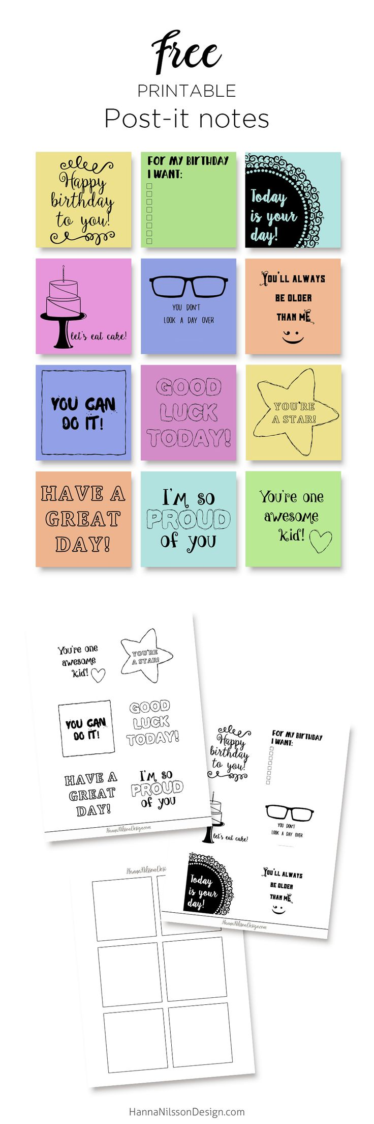 Free printable post-it notes with printing guide - birthday notes + lunch box notes for kids - sticky notes