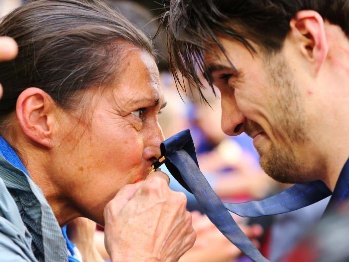 Thanks mum. Photo: Michael Dodge/AFL Media/Getty Images