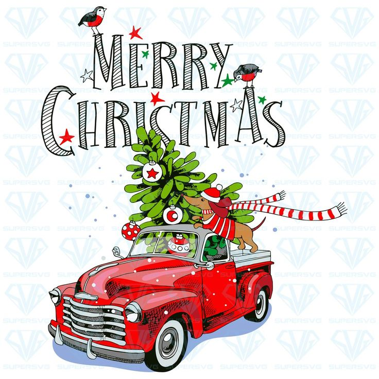 Download Christmas Card Red Retro Truck Fir SVG Files For ...