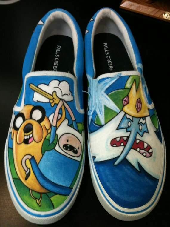 Custom Painted  Vans. Except theyre not vans--just slip on shoes....but it's Adventure Time!!!