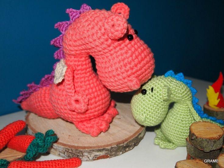 Maman dragon au crochet, diy, grame,