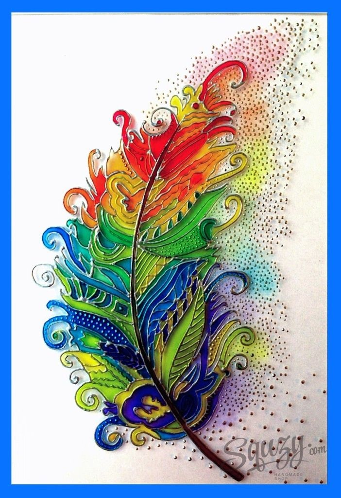 Мастер-класс по витражной росписи: интерьерная картина Перо